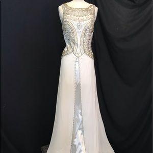 NWT Designer Sue Wong Boatneck Ivory Gold Dress 6